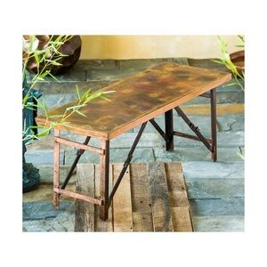 Evergreen Burnt Copper-Finish Fold-Up Garden Bench